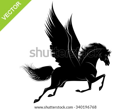 Vector illustration of a pegasus black silhouette