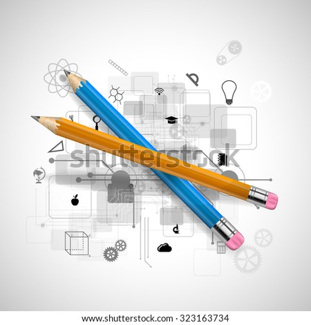 Vector illustration of a pencil - stock vector