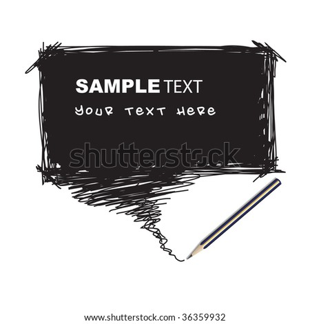 Vector - Illustration of a pencil with a word bubble for text insertion