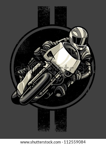 vector illustration of a person racing a sport motorcycle in front of a lightly distressed retro pinstripe and circles design. - stock vector