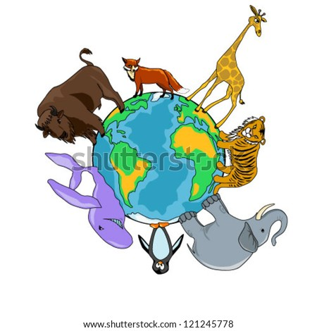 Vector illustration of a planet and animals isolated on white background - stock vector