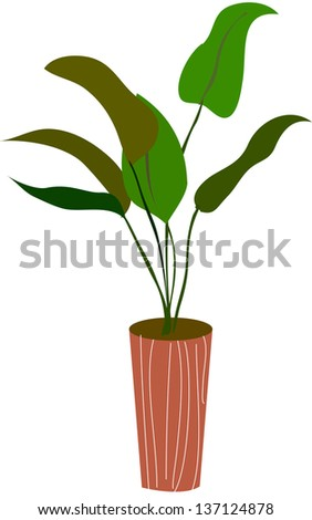 Vector illustration of a plant in a pot