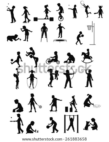 Vector illustration of a playing children silhouettes set - stock vector