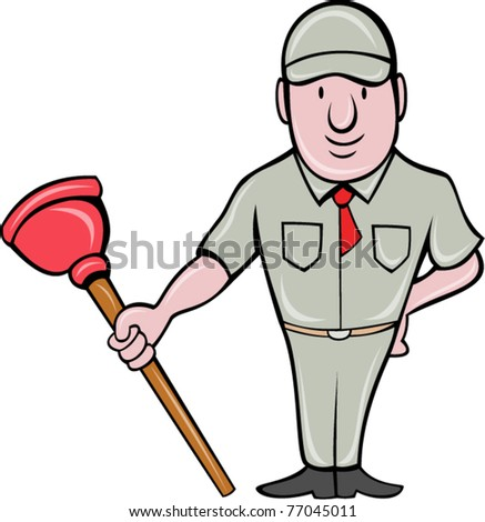 vector illustration of a plumber with plunger standing front  done in cartoon style on isolated background