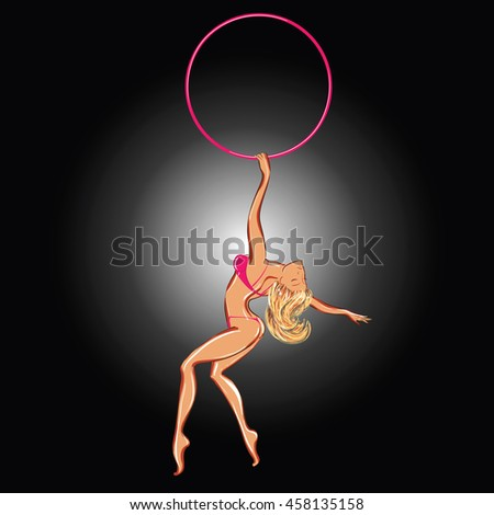 Vector illustration of a pole-dancer stripper with a hoop - stock vector