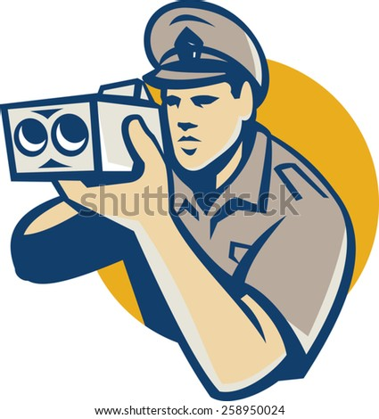 vector illustration of a policeman holding operating police speed camera set inside cricle done in retro style.