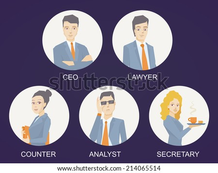 Vector illustration of a portrait of a business team of young business people on dark background in white circle - stock vector