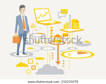 Vector illustration of a portrait of a man in a jacket lawyer with a briefcase in his hand stands on the scheme of business processes on a light background  - stock vector