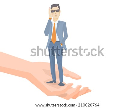 Vector illustration of a portrait of analyst man in a jacket hand holds glasses standing together on palm of the hand on white background - stock vector