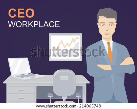 Vector illustration of a portrait of ceo wearing a jacket with clasped hands on his chest stands on office background  - stock vector