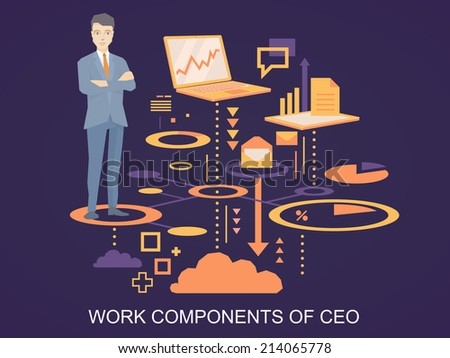 Vector illustration of a portrait of the ceo wearing a jacket with clasped hands on his chest stands on his work components on dark background  - stock vector