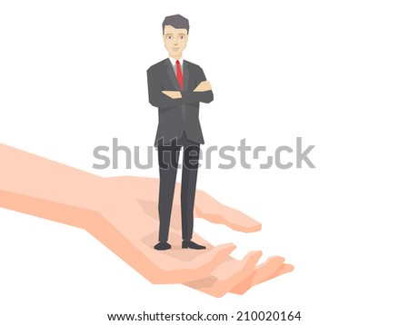 Vector illustration of a portrait of the leader businessman wearing a jacket with clasped hands on his chest standing together on palm of the hand on white background - stock vector