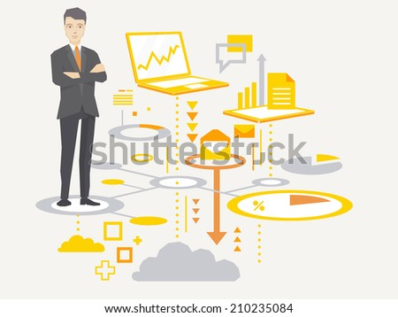 Vector illustration of a portrait of the leader of a businessman wearing a jacket with clasped hands on his chest stands on the scheme of business processes on light background  - stock vector