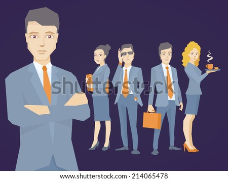 Vector illustration of a portrait of the leader of a businessman wearing a jacket with clasped hands on his chest on dark background of business team of young businesspeople - stock vector