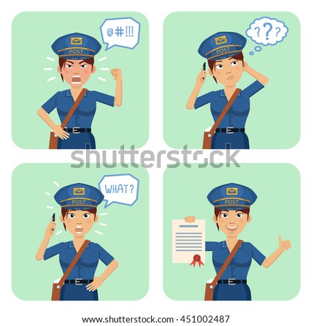 Vector illustration of a postwoman in different situations