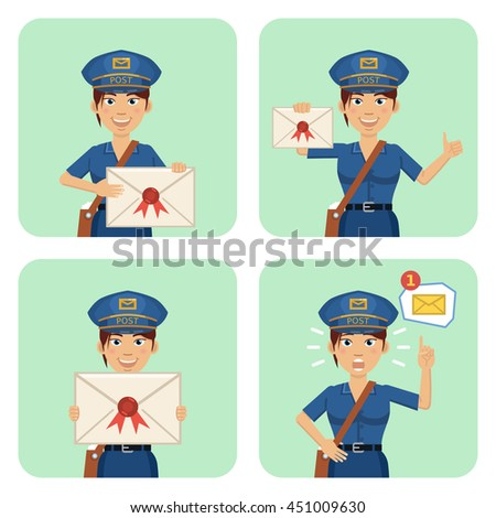 Vector illustration of a postwoman with letter in different situations