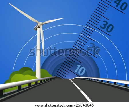 Vector illustration of a power generating wind turbine 3 - stock vector