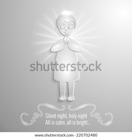 Vector illustration of a praying angel - stock vector