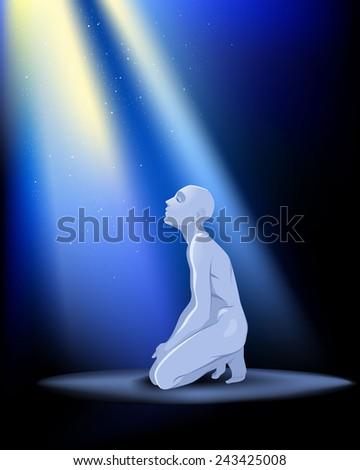 Vector illustration of a praying man on knees - stock vector