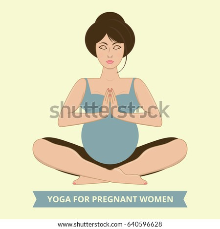 Vector illustration of a pregnant woman practicing yoga, meditating in lotus pose and namaste position.