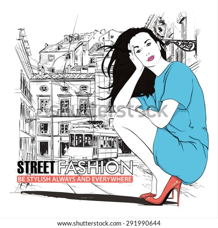 Vector illustration of a pretty fashion girl and old tram. - stock vector