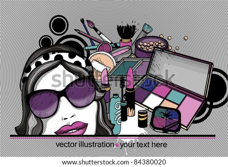 vector illustration of a pretty girl in sunglasses and colorful cosmetics,make up and eyeshadow - stock vector
