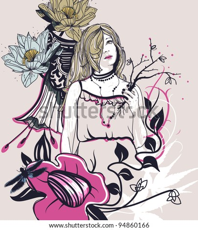 vector illustration of a pretty girl on a floral background - stock vector