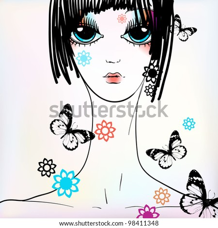 vector illustration of a pretty girl with flowers and butterflies - stock vector