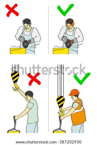 Vector illustration of a prevention of accidents - stock vector