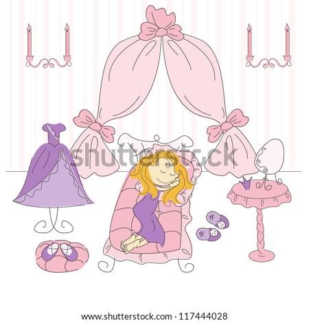 Vector illustration of a  princess bedroom - stock vector