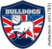 "vector illustration of a Proud English bulldog marching with Great Britain or British flag in background set inside a shield with words ""bulldogs"" suitable for any sports team mascot - stock vector"