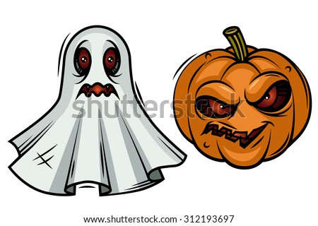 Vector illustration of a pumpkin on Halloween. Vector illustration of a ghost. Cartoon vector Halloween.