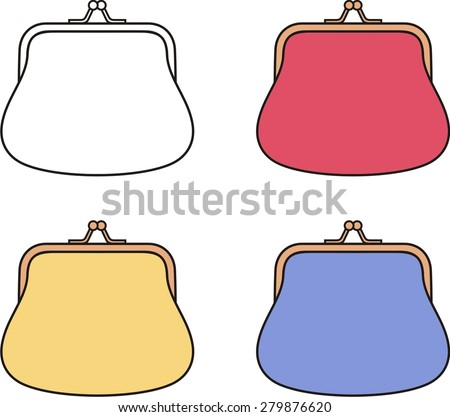 Vector illustration of a purse in different colors - stock vector