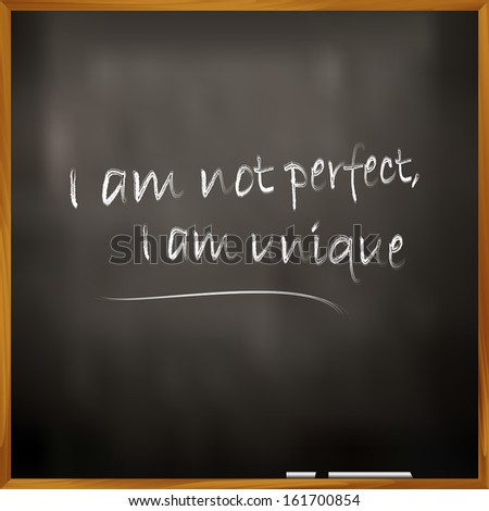 Vector illustration of a quote I am not perfect, I am unique - stock vector