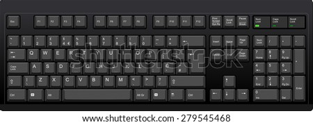 Vector illustration of a QWERTY UK English layout computer keyboard. All sections are well organized and sorted for designer convenience. Black color.