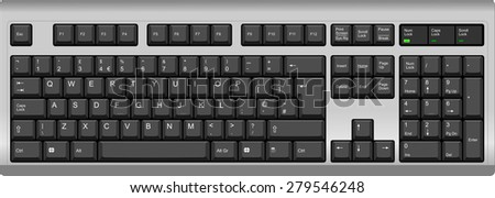 Vector illustration of a QWERTY UK English layout computer keyboard. All sections are well organized and sorted for designer convenience. Silver and black color.