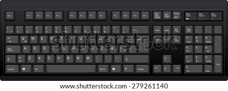Vector illustration of a QWERTY with Latin American spanish LA layout computer keyboard. All sections are well organized and sorted for designers convenience.