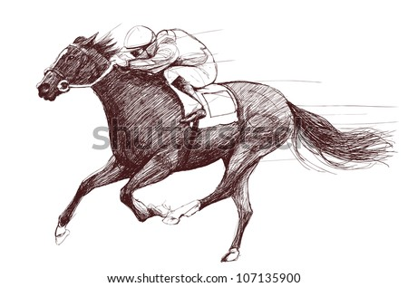 Vector illustration of a racing horse and jockey - stock vector