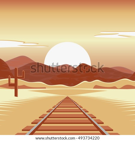 Vector illustration of a railway and in the deserted landscape.
