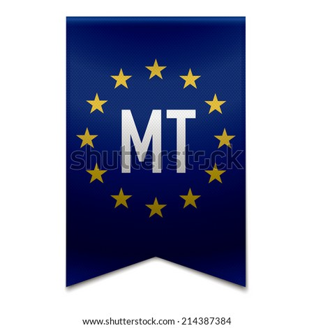 Vector illustration of a realistic EU flag with the country malta - MT. - stock vector