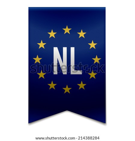 Vector illustration of a realistic EU flag with the country netherlands - NL. - stock vector