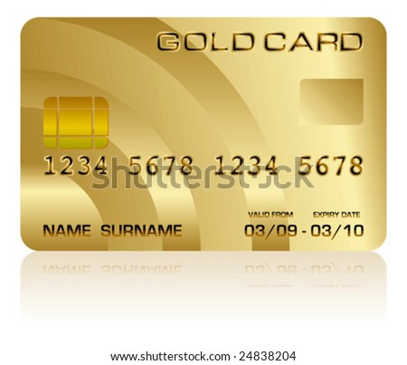 Vector illustration of a realistic gold credit card isolated on white