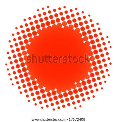 Vector illustration of a red and orange halftone circle
