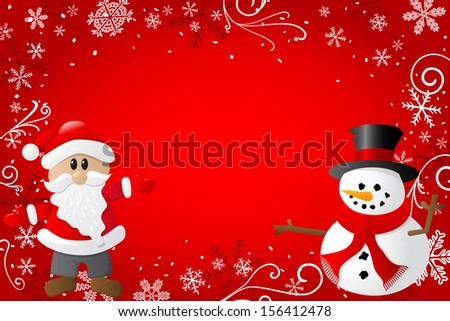 vector illustration of a red christmas background with santa claus and a snowman