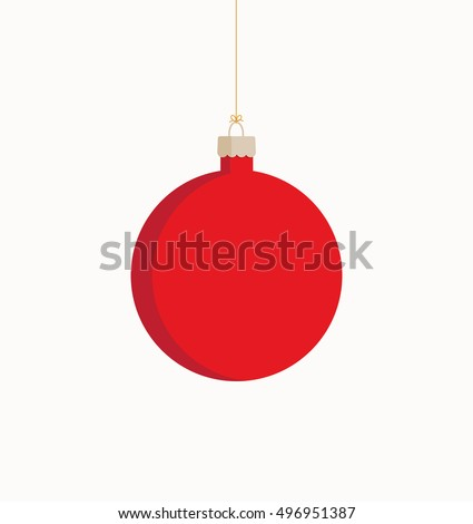 Vector illustration of a red Christmas bauble  on a white background