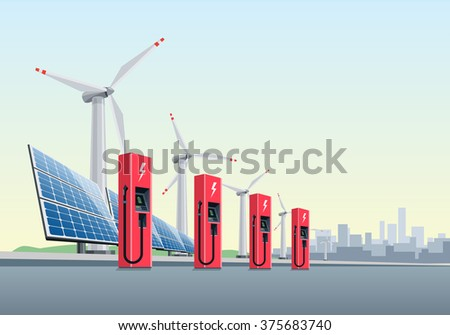 Vector illustration of a red electric charging stations in front of the windmills and solar panels. The city is in the background. Electromobility e-motion concept.  - stock vector
