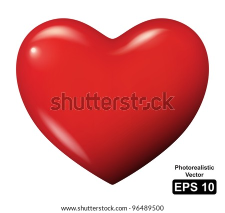 Vector illustration of a red heart - Isolated - stock vector