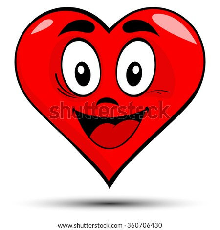 Vector illustration of a red heart with smile - love concepts - stock vector