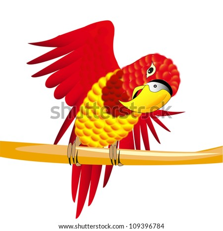 Vector illustration of a red parrot on the branch - stock vector