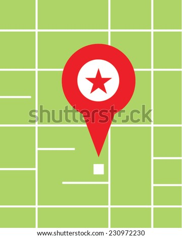 Vector illustration of a red pin locator on a map - stock vector